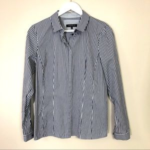 Lafayette 148 blue striped button down shirt